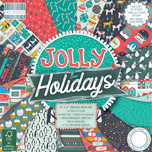 """First Edition Weihnachten, mehrfarbig, First Edition Christmas - Jolly Holidays Premium Paper Pad 6""""x6"""" 48 Sheets (FSC)"""