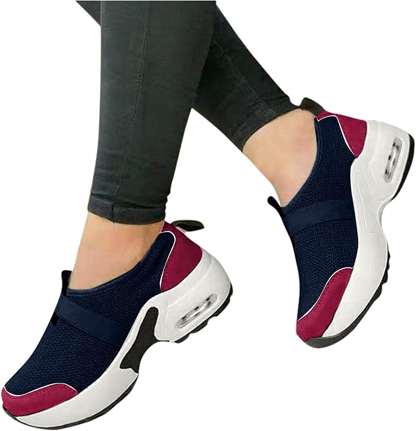 Hbeylia Platform Wedge Walking Running Shoes For Women Comfortable Slip On Fashion Sneakers Fashion Casual Chunky Bottom High Heels Athletic Work Nursing Shoes For Ladies Girls