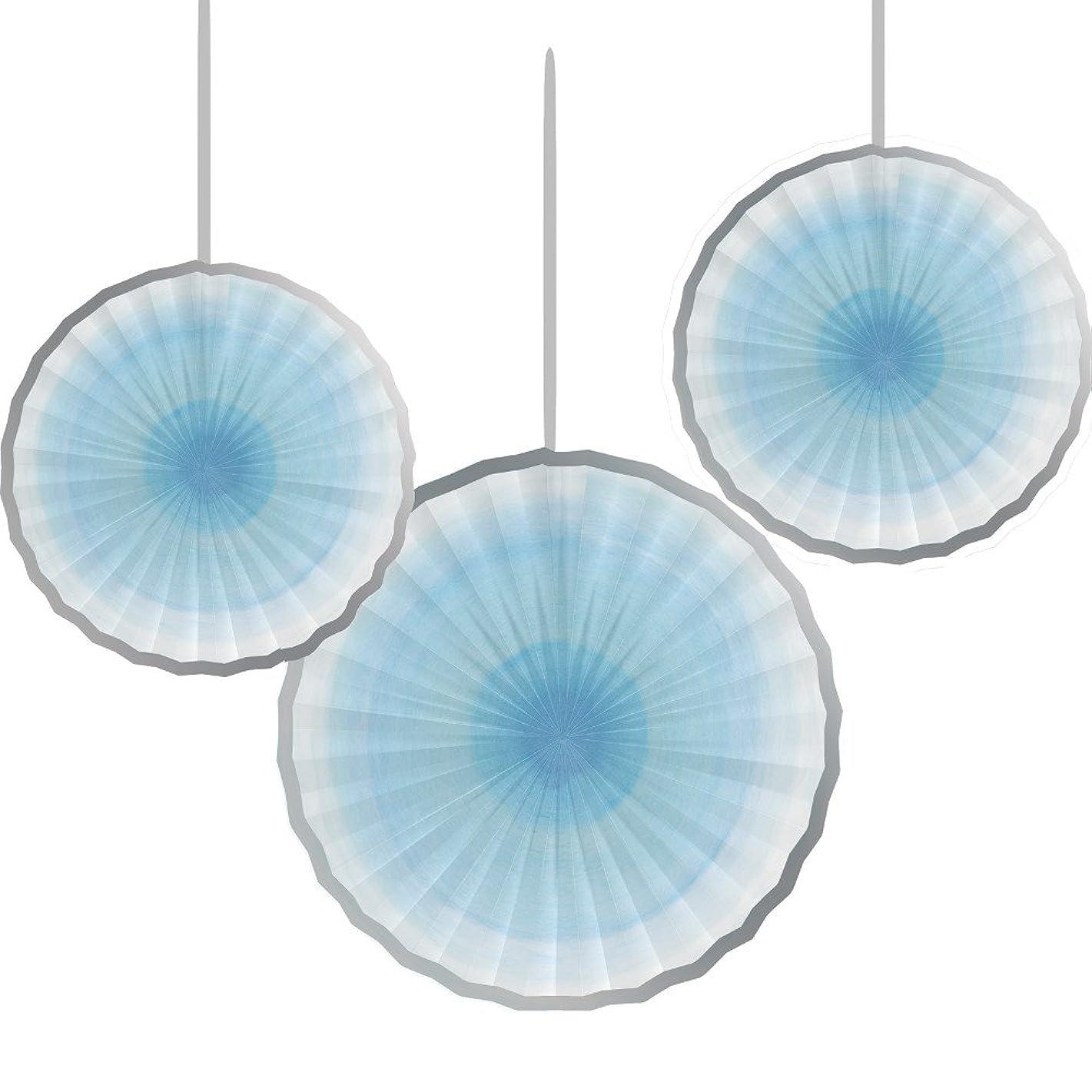 Creative Converting 322240 Festive Twinkle Little Star Boy Paper Fans, Multi Sizes, Blue