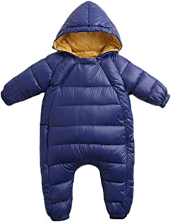 REWANGOING Baby Infant Toddler Girls Boys One Piece Winter Zipper Puffer Down Pram Suit Jumpsuit Snowsuit Romper