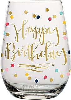 Birthday Wine Glass - 20 oz Happy Birthday Stemless Wine Glass (Multicolor Confetti, Perfect Birthday Gift)