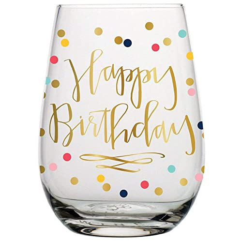 Creative Brands Slant Collections Stemless Wine Glass, 20-Ounce, Happy Birthday- Polka Dot