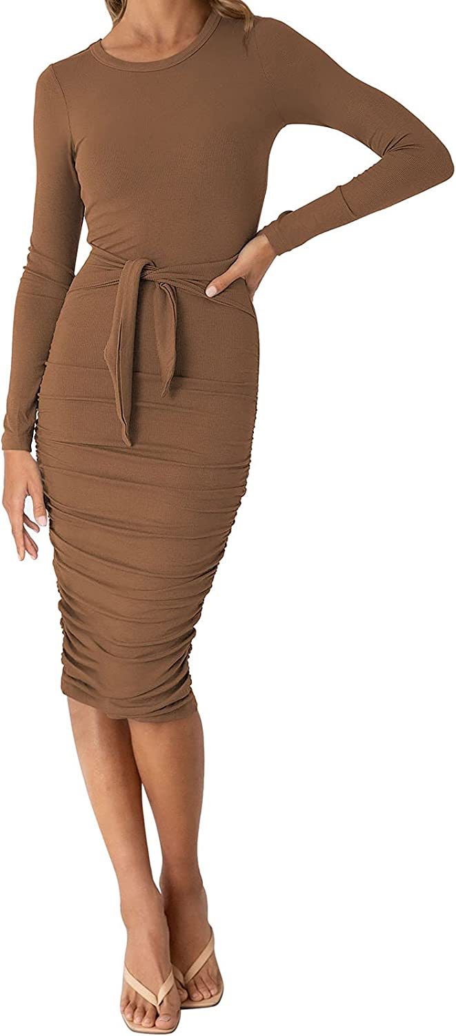 Meenew Women's Tie Waist Long Ruched Midi lowest price Dress Cocktail Sleeve Rare