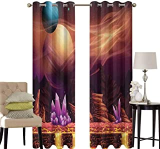hengshu Fantasy Sliding Door Curtains for Living Room Fantasy Spot with Golden River in Mars with Nebula and Other Planets Solar Zodiac Theme Room Darkening Curtains Room Decor W52 x L63 Inch Multi