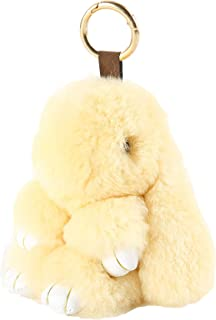 YISEVEN Stuffed Bunny Keychain Toy - Soft and Fuzzy Large Stitch Plush Rabbit Fur Key Chain - Cute Fluffy Bunnies Floppy Furry Animal Easter Basket Stuffers Gifts Women Bag Charm Car Pendant- Beige