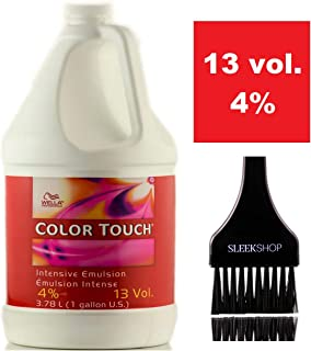 Wella COLOR TOUCH Intensive Emulsion Creme Developer (w/Sleek Tint Brush) Cream Peroxide for ColorTouch Haircolor Hair Color Dye (13 Volume / 4% - 3.78 LITER / 1 GALLON)