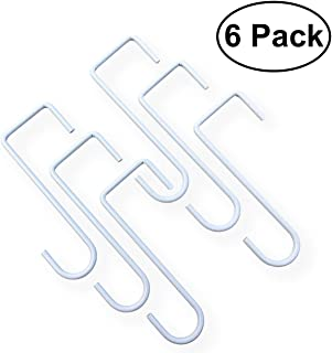 Patio Hooks 3x8in & 2x6in | 6 Pack White Steel Hangers | Great Brackets for Hanging Over Vinyl Fences, Plants & Planters, Alumawood Lattice Covers, Awnings, Pergolas, Pool Equipment (3x8in)