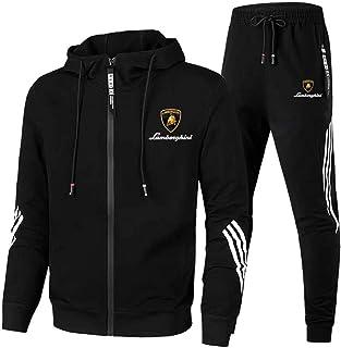 QIZIFAFA Men's Jogging Suit Tracksuit Lam-Bo.Rghini Sports Suit Hooded Zip Jacket + Pants Coat, Sports Suit Suit Activewea...