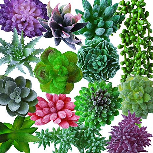 Outee 14 Pcs Artificial Succulents Plants Fake Succulents Fake Plants Assorted Faux Succulents Artificial Hanging Succulents Flocking Textured Bouquet String of Pearls Succulent Decor