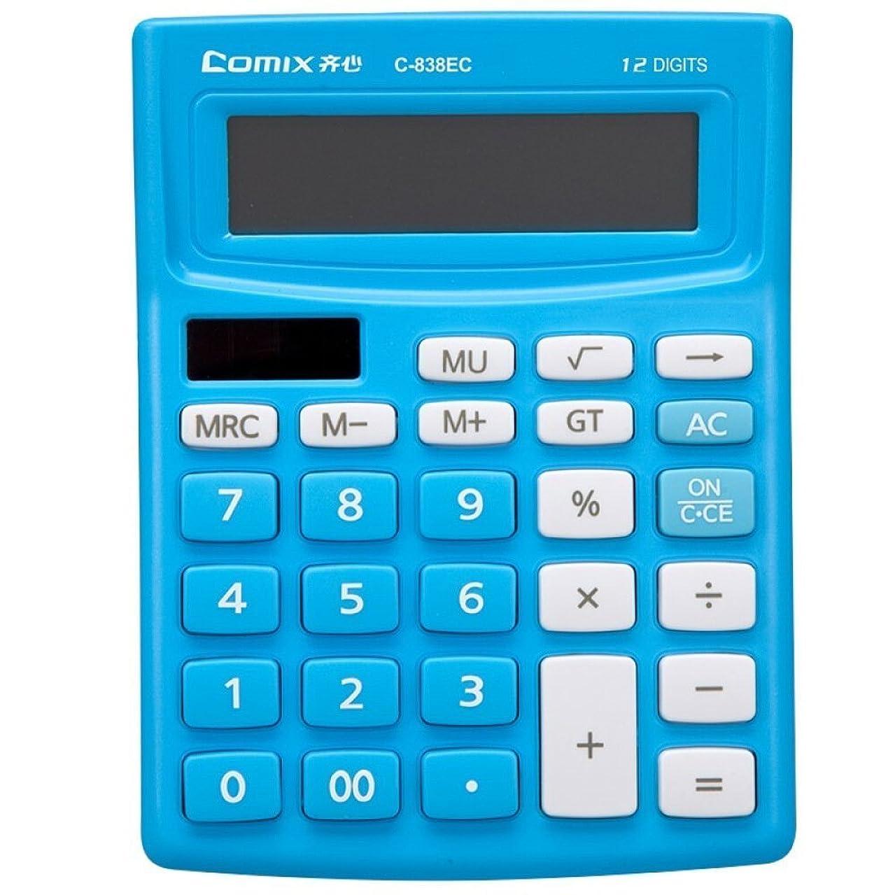 適合する抑止するミケランジェロ電子デスクトップ電卓大型12桁表示、ソーラーとボタン電池デュアル電源標準12桁ビッグディスプレイハンドヘルド機能付きデスクトップ電卓(ブルー)