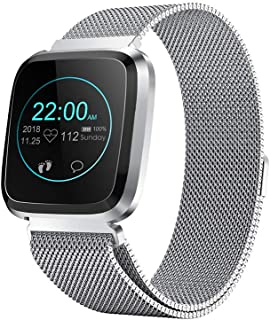 Smart Watch with Bluetooth Fitness Tracker Color Touch Screen Heart Rate Monitor Activity Tracker Pedometer Sleep Monitor Blood Pressure IP68 Waterproof for Smartphone