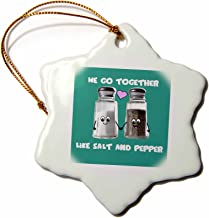 3dRose orn_58327_1 We Go together Like Salt and Pepper-Cartoon Condiments Shakers in Love-Turquoise-Snowflake Ornament, 3-Inch, Porcelain