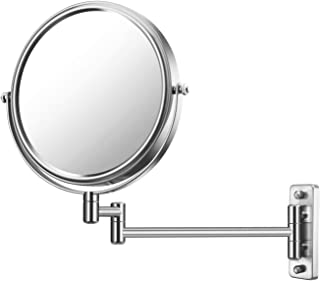 Cerdeco 8 Inch 7X Double Sided Wall Mount Mirror 360° Swivel Extendable Cosmetic Magnification Makeup Mirrors,Nickel Finish
