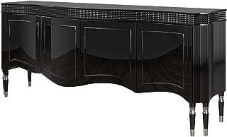 Casa Padrino aparador Art Decó Negro/Plata 220 x 53 x A. 93 cm - Gabinete de salón Noble con 4 Puertas - Muebles Art Deco