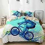 BGNHG Decorative Duvet Cover Sets Bed Sheets,Beige,BMX von Sportsman Cycling Extreme Bike Freestyle Triathlon Fahrrad Zyklus Geschwindigkeit,3 Piece Bedding Set with 2 Pillow Cases King Size
