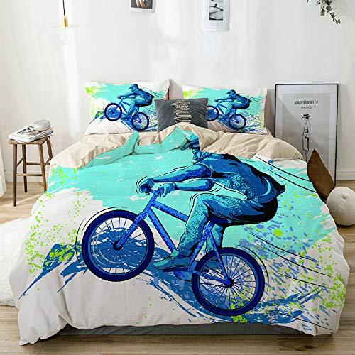 BGNHG Decorative Duvet Cover Sets Bed Sheets,Beige,BMX von Sportsman Cycling Extreme Bike Freestyle Triathlon Fahrrad Zyklus Geschwindigkeit,3 Piece Bedding Set with 2 Pillow Cases Twin Size