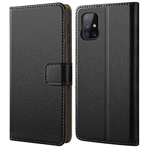 HOOMIL Handyhülle für Samsung Galaxy M51 Hülle, Premium PU Leder Flip Hülle Schutzhülle für Samsung Galaxy M51 Tasche (Schwarz)
