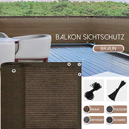BelleMax Balkon Sichtschutz Sonnenschutz Sonnensegel Windschutz, Balkonverkleidung Kunststoff, Sichtschutzplane, für den Balkon, (Braun 90cm x 500cm)