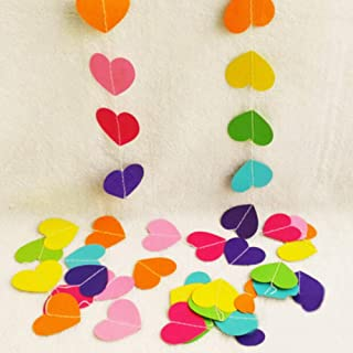 y Lifestyle 26Ft Set of 2 Rinbow Heart Paper Garland for Room Party Decorations Backdrop (Rinbow)
