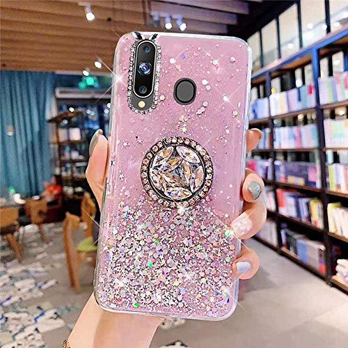 Coque pour Samsung Galaxy A20S Coque Transparent Glitter avec Support Bague,étoilé Bling Paillettes Motif Silicone Gel TPU Housse de Protection Ultra Mince Clair Souple Case pour Galaxy A20S,Rose
