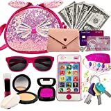 MOAOZ Girl's Pretend Makeup Toy, My First Princess Purse, Toy for Kids Gifts with Smartphone, Key,Sunglasses, Card, Lipstick,Lights Up & Make Real Life Sounds,Gifts for Girls Over 3 Years Old