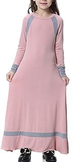 イスラムキッズ女の子イスラム教徒のソリッドカラーロングスリーブドレスS-XXXL