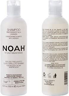 NOAH Hair - 1.3 Strengthening Lavender Shampoo with Rosemary Oil - Natural Daily, Organic, Strengthening, Sulphate and Cruelty Free, Eco Friendly, Vegan Shampoo with Essential Oils - 8.5 fl.oz