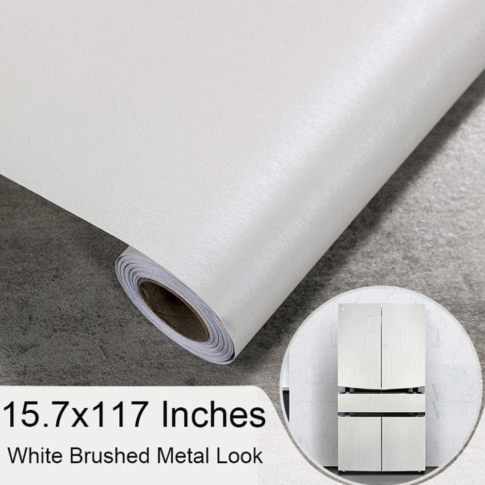 Dark Grey, 40CMX3M Self Adhesive Vinyl Brushed Metalic Stainless Steel Film Wallpaper for Refrigerator Dishwasher Stove Oven Doors Appliances Kitchen Countertop Furniture Crafts Decal