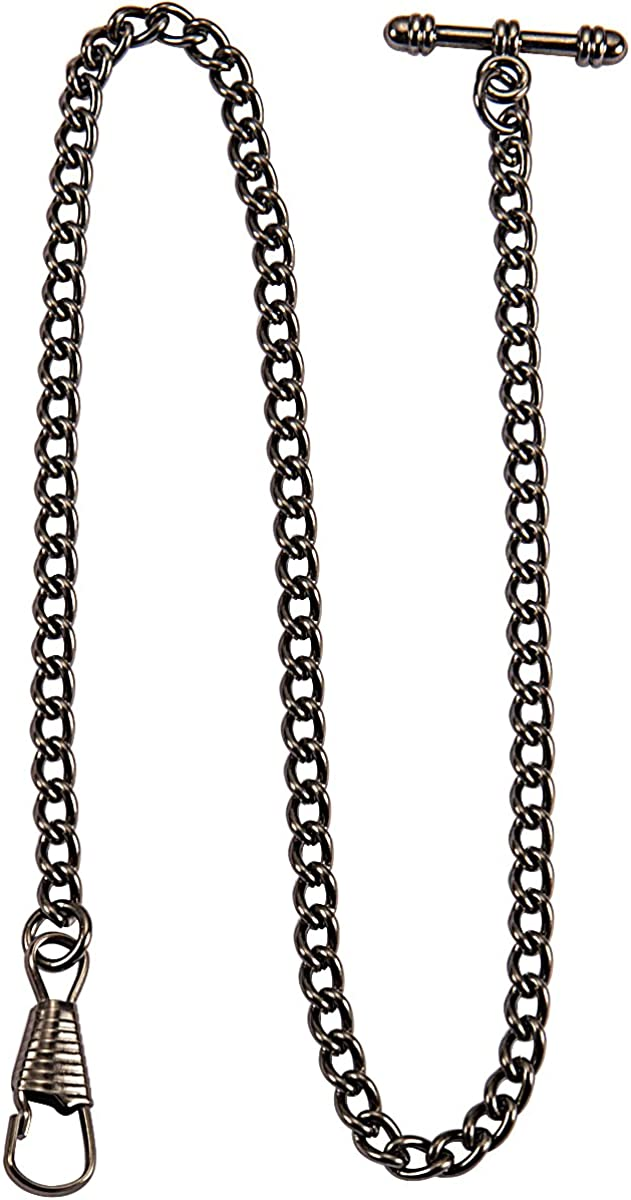 ManChDa Black 13 Inch Single Albert Curb T-Bar Pocket Watch Chain Link : Clothing, Shoes & Jewelry