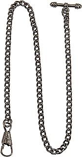 Black 13 Inch Single Albert Curb T-Bar Pocket Watch Chain Link