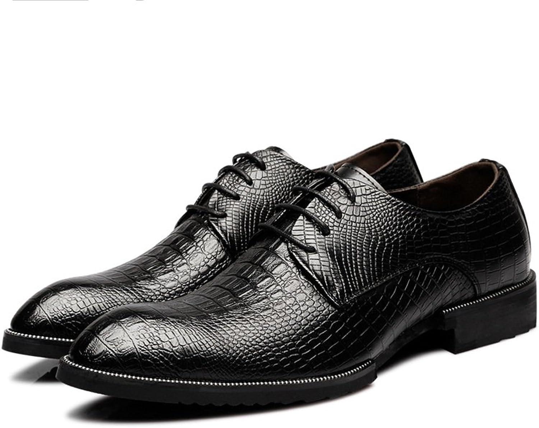 JIALUN-Schuhe Mode für männer Echtes Leder Schuhe Krokodilhaut Textur Oberen Oberen Oberen Lace Up Atmungsaktiv Business Gefütterte Oxfords (Farbe   Schwarz, Größe   24CM)  a36017