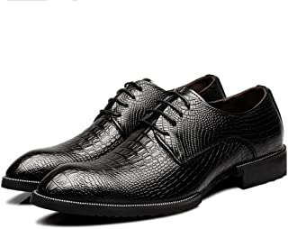 Hilotu Clearance Party Shoes for Men's Genuine Leather Shoes Crocodile Skin Texture Upper Lace Up Breathable Business Lined Oxfords (Color : Black, Size : 7.5 D(M) US)