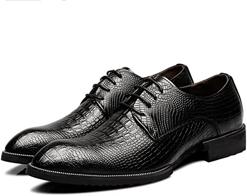 XHD-Chaussures Chaussures en Cuir véritable de Mode pour Hommes, Hommes, Texture de Peau de Crocodile (Couleur   Noir, Taille   9MUS)  première réponse