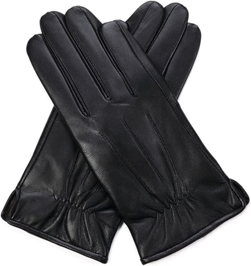 UimimiU Mens Genuine Leather Glove Winter Mittens Genuine Lambskin Gloves Driving Mitten Black Luxurious Leather Super Keep Warm Driving Warm Moto Gloves (Color : Conventional, Size : 20-21cm)