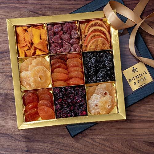 BONNIE AND POP Set de regalo de frutas secas (cestas y canastas de regalos para simpatía, cumpleaños y agradecimientos, consiga un regalo corporativo y personal) 9 sección 650g