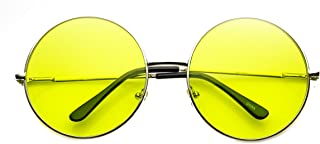 56d3430b8c3 Womens Fashion Oversized Color Tint Lens Metal Circle Round Sunglasses