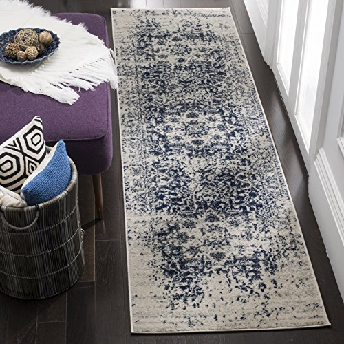 Safavieh Madison Collection MAD603D Cream and Navy Distressed Medallion Runner (2'3' x 6')