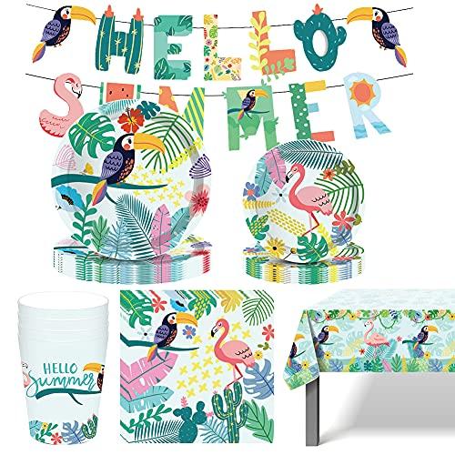 Amycute 8 Invitados Vajilla de Flamenco para Hawaianos Party Fiesta de Tropical, Cubiertos Diseño Flamenco Para Cumpleaños Infantil Baby Shower Decoración Incluye Papel Platos Vasos Servilletas Mantel