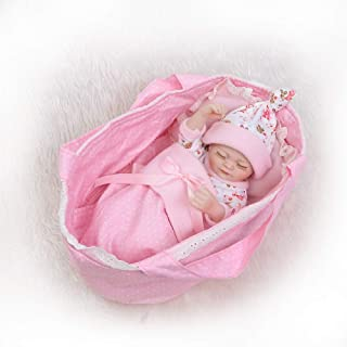 Lilith Waterproof Bathable 10 inch 26cm Miniature Reborn Baby Doll Girl Boy Twins Silicone Vinyl Full Body Realistic Lifelike Cradle is Included (Girl)