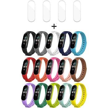 Hanbee 15 Pezzi Cinturino per Xiaomi Mi Band 5 + 4 Pezzi TPU Pellicola Protettiva per Xiaomi Mi Band 5, Cinturino di Ricambio Morbido, Resistente al Sudore-Colorati, Traspirante
