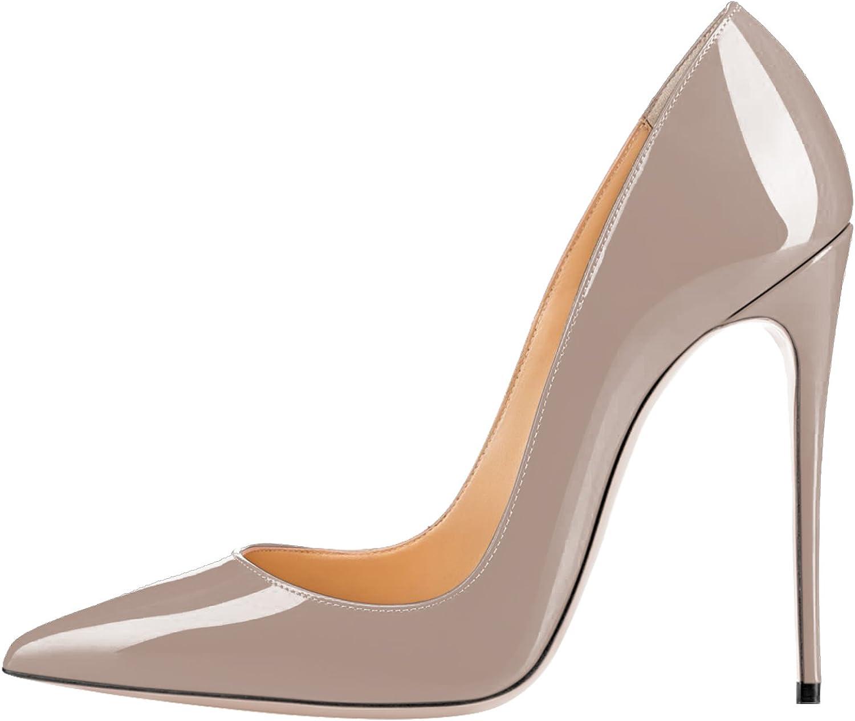QianZuLian Women Fashion Pointed Toe Pumps High Heel Stilettos Sexy Slip on Dress shoes Size 5-15 US