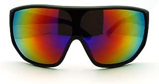 Futuristic Mens Oversized Shield Mono Lens Sport Warp Sunglasses