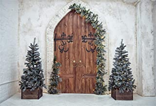 Leyiyi 10x8ft Merry Christmas Room Set Backdrop Rustic Farmhouse Xmas Tree Vintage Brick Wall Arch Door Pine Branch Wreath Photography Background Happy New Year Portrait Studio Prop Vinyl Banner