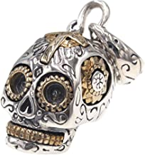 Small 925 Sterling Silver Gold Mexican Sugar Skull Head Necklace Pendant Biker Jewelry for Women Men