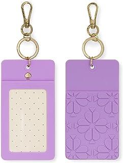 Kate Spade New York I.D. Badge Clip Gold Key Chain, Spade Flower (Purple)