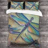 Dragonfly Colorful Wings Insect 3D Quilt Reversible Bedding Sets Comforter Bedspread Set Queen Size 3 Piece Duvet Cover Set with 2 Pillow Cases for Men Women Kids