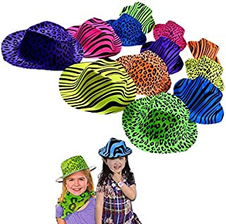 Dazzling Toys 12 Pack Original Gangster Hats - Cool Plastic Neon Vintage Animal Pattern Gangster's Hats 12 Pack for Kids and Adults BBQ's | Birthdays | Concerts - Trendy Rave Hats with Animal Prints