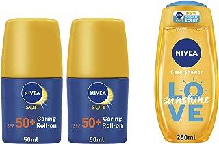 Nivea Sun Caring Roll-on SPF 50, 2 Pcs + Sunshine Shower Care - 300 ml