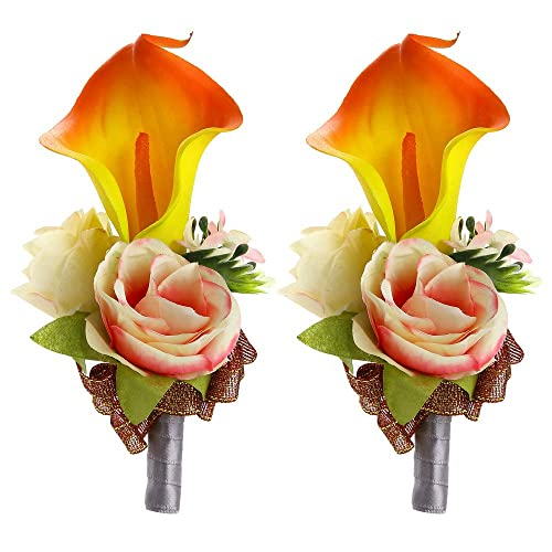 Febou Boutonniere Pack of 2 Calla Lily Wedding Boutonniere for Groom Bridegroom Groomsman Perfect for Wedding, Prom, Party (B-Orange)