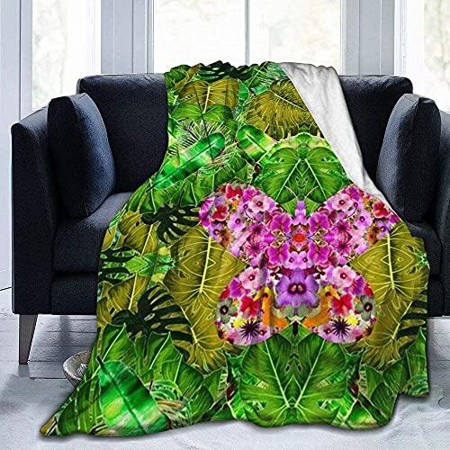 Gooi deken roze vlinder ultra-zachte micro fleece deken super zacht voor bedbank woonkamer